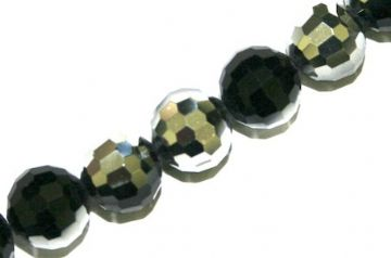 100pcs x 6mm Black / silver faceted round glass beads -- S.J -- 3005756